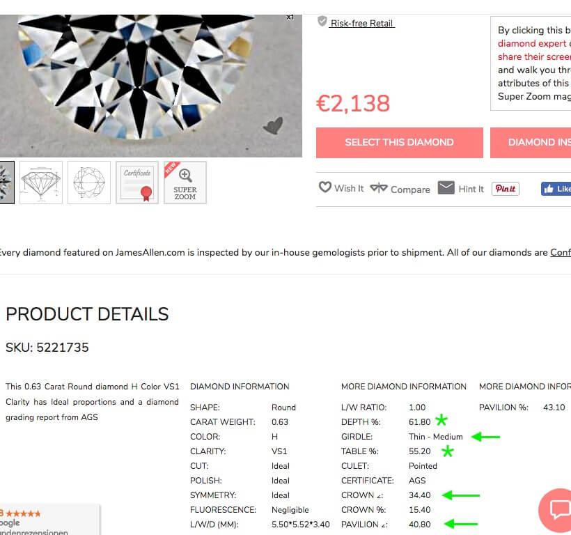 Vorauswahlfeld eines Diamanten (3) mit den wichtigsten Daten der AGS-Bewertungen unterhalb des Bildes (James Allen)