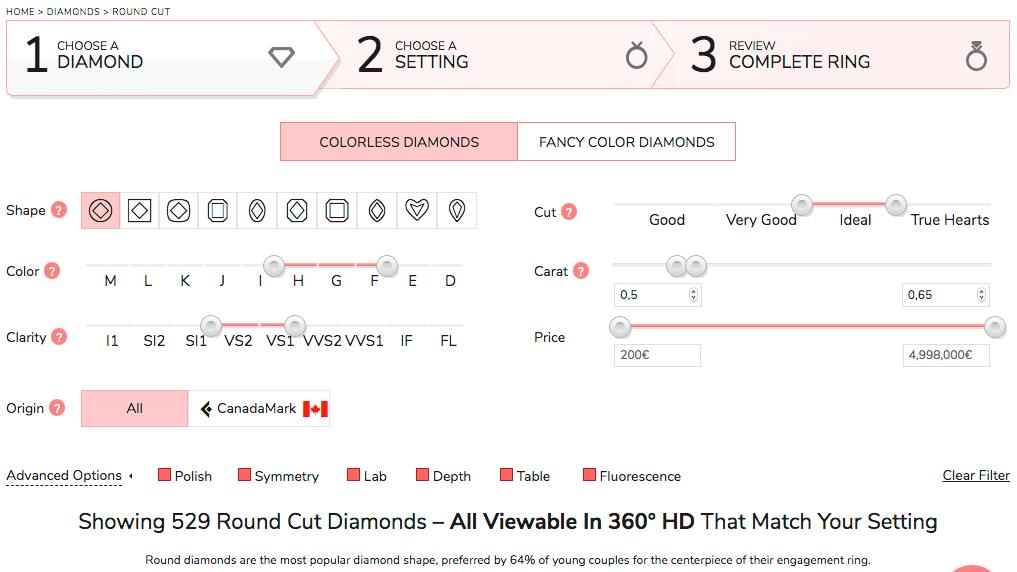 Vorauswahlfeld von Diamanten innerhalb einer gewünschten Größenordnung (James Allen) 1. Schritt für das Filtern der Diamant Schliff-Qualität - perfekten Diamant Verlobungsring kaufen