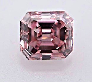 Argyle Diamant 0.39ct Fancy Intense Pink Smaragd-Schliff, frontal, Reinheit SI1 - rosa Diamanten der Argyle Diamantenmine