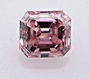 Argyle Diamant 0.39ct Fancy Intense Pink Smaragd-Schliff, frontal, Reinheit SI1 - rosa Diamanten der Argyle Diamantenmine