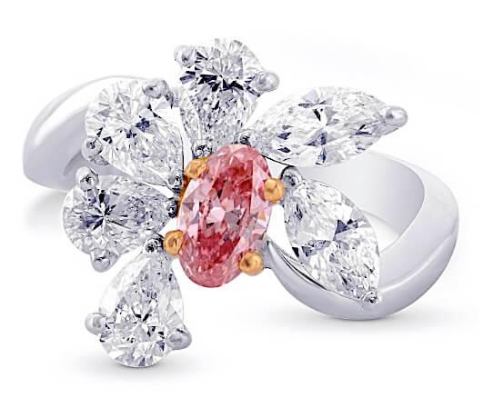 Argyle 2.34ct , Fancy Intense Pink und Weiß frontal Rosa Diamant Ovalschliff, 0,43ct