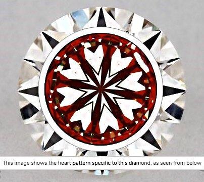 Hearts-Scope-Aufnahme von Diamant mit 0,71 ct Farbe E Reinheit SI1. In dieser Aufnahme kann davon ausgegangen werden, dass der Diamant auf Grund seiner Reinheitsklassifizierung ein wirtschaftlich gutes Schnäppchen wäre. Hätte er in seiner Lichtleistung mehr zu bieten