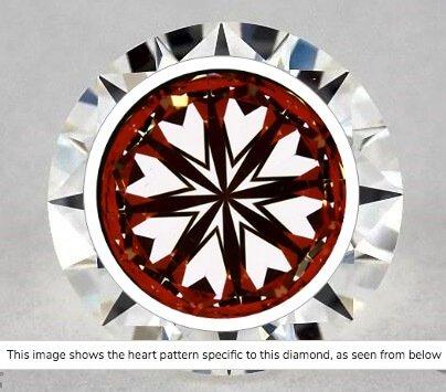 Hearts-Scope-Aufname Diamant 1.05ct Farbe H Reinheit VVS1. Die Symmetrischen Figuren verlaufen gleichmäßig und durch die Reinheitsklasse sind keine Einschlüsse zu sehen