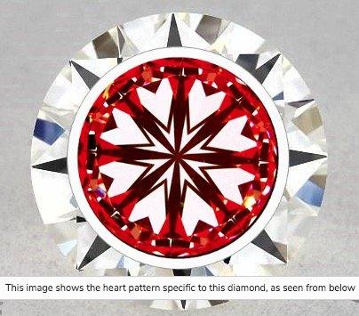 Hearts-Scope-Darstellung Diamant 1.29ct-Diamant 1.29ct Farbe I Reinheit VS1 . Die Aufnahme weist keinerlei Rückführung auf die ungenügende Lichtleistung hin