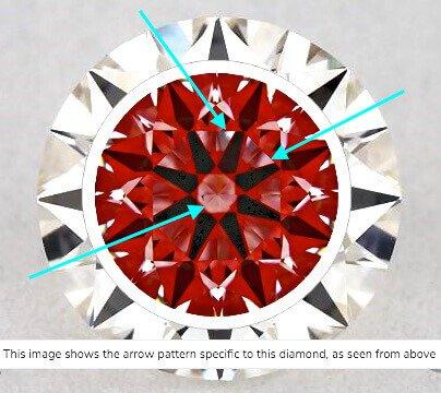 Hearts-Scope-Aufnahme von Diamant mit 0,71 ct Farbe E Reinheit SI1. Auf Grund seiner Reinheitsklassifizierung hätte der Diamant ein wirtschaftlich gutes Schnäppchen sein können, wenn nicht seine Lichtleistung unbefriedigend wäre