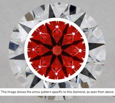 Ideal-Scope-Aufname Diamant 0,71ct Farbe H Reinheit VVS1. Perfekte Lichteigenschaft durch die identischen Figuren