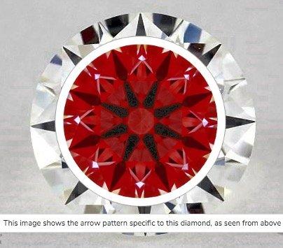 Ideal-Scope-Aufname Diamant 1.05ct Farbe H Reinheit VVS1. Hier ist die klare perfekte Lichteigenschaft durch die symmetrische Anordnung mit der durchlaufend roten Farbe zu erkennen