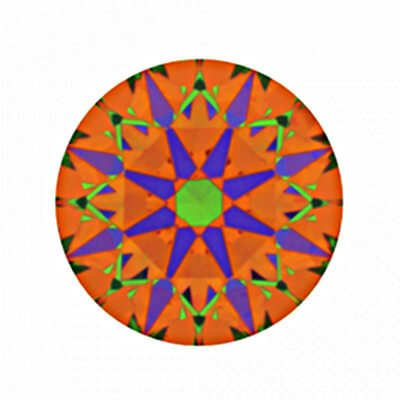 ASET-Abbildung des Diamanten mit 0,267 Karat Farbe E und VS1G und der Reinheit VS1