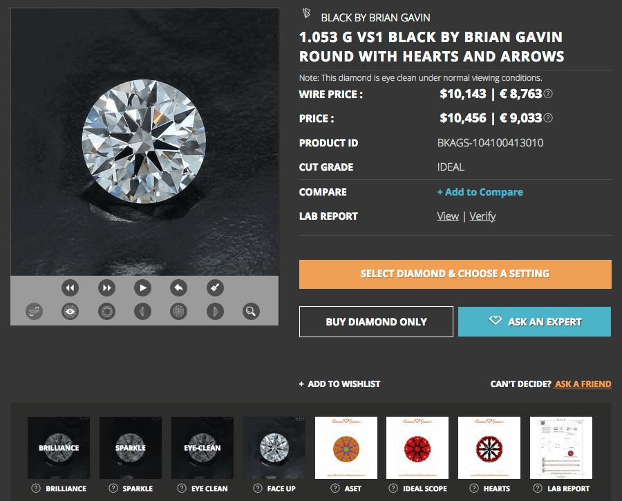 Ansicht eines Hearts and Arrows Diamanten der Black-Serie von Brian Gavin, 1,053 Karat, Farbe G, VS1