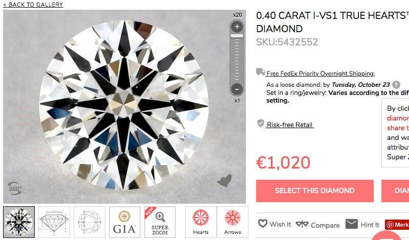 Hearts and Arrows-Diamant, 0,40 Karat, Farbe I, REinheit VS1 mit idealen Werten - der erste von zwei scheinbar gleichen Diamanten