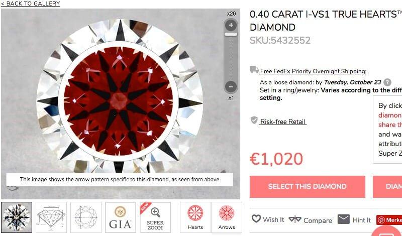 Ideal-Scope für H & A-Diamanten mit 0,40 Karat, I VS1 - von scheinbar gleichen Diamanten