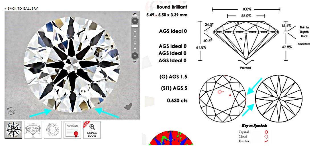 Beispiel eines Diamanten mit der Reinheitsklasse SI1 und Feder Einschlüsse bei der Rundiste