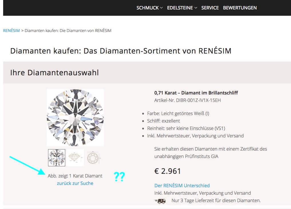 Detail-Ausschnitt mit Symbolbild aus der Diamanten Liste Renesim mit einigen beschriebenen Details des ausgewählten Diamanten