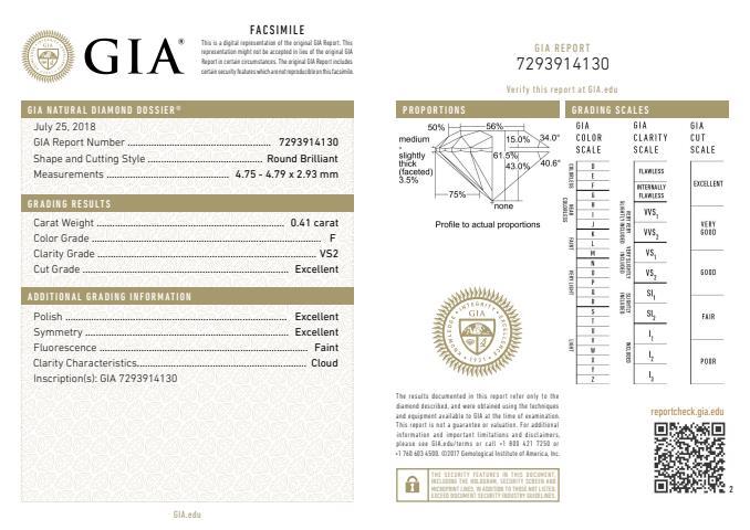 GIA_Zertifikat zum hochwertigen Diamanten mit 0.41 ct F VS2, 3-fach Excellent und idealen Proportionen - Beispiel für hochwertigen Diamanten sicher kaufen