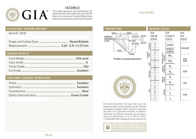GIA-Zertifikat mit 0.56 ct G VS2, 3-fach Excellent, idealen Proportionen mit Lichtlecks - Beispiel für hochwertigen Diamanten sicher kaufen