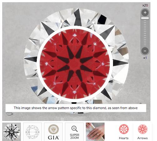 Ideal-Scope-Aufnahme von einem hochwertigen Diamanten mit 0.41 ct F VS2, 3-fach Excellent und idealen Proportionen - Erstes Beispiel für hochwertigen Diamanten sicher kaufen