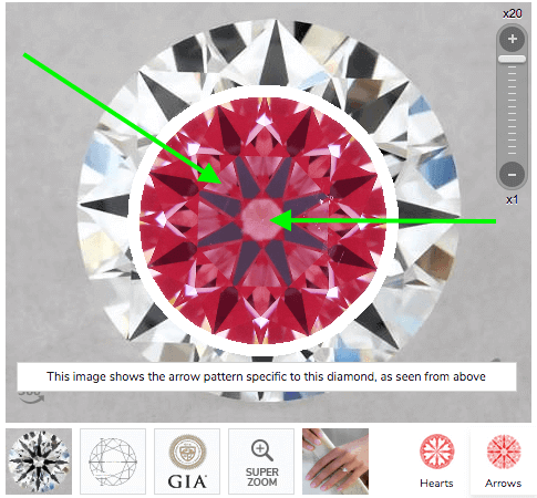 Ideal-Scope-Aufnahme von einem Diamanten mit 0.56 ct G VS2, 3-fach Excellent, idealen Proportionen mit Lichtlecks - Zweites Beispiel für hochwertigen Diamanten sicher kaufen