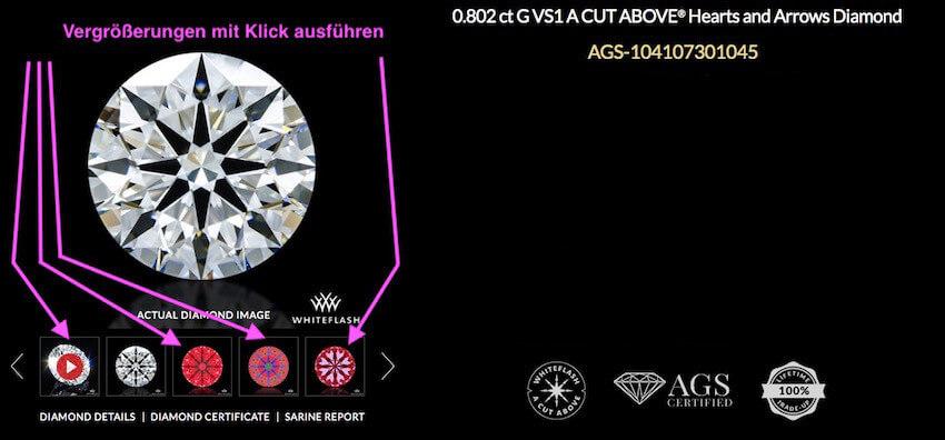 Whiteflash-Diamant A Cut Above®️ mit 0,802 ct G VS1