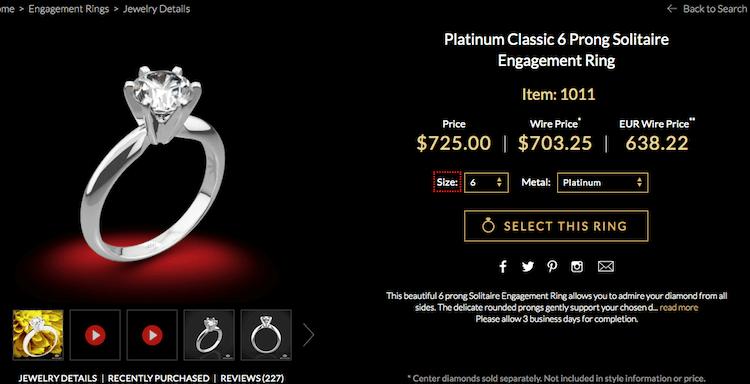Whiteflash Platinum Ring mit 6-Krappen-Fassung