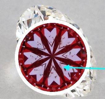 Hearts-Scope-Abbildung mit Pfeil-Hinweis - Hearts & Arrows-Diamant mit 1.02 ct