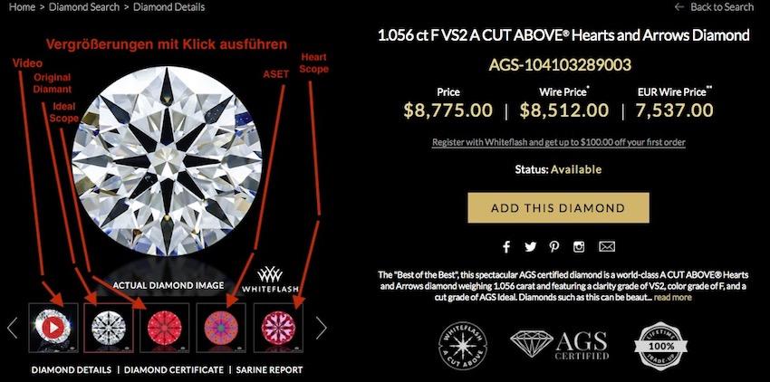 Detaillierte Datensammlung eines 1 Karat Diamanten