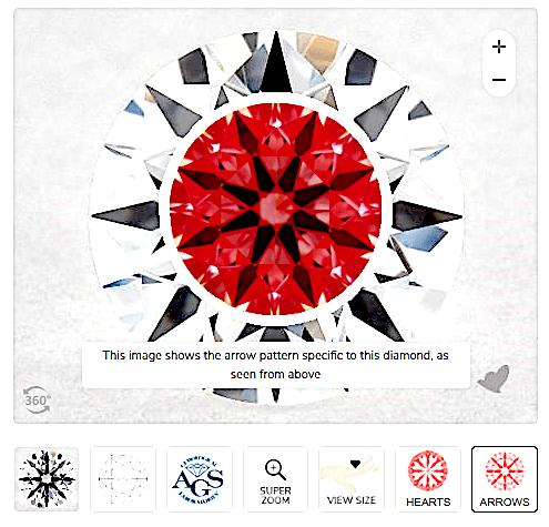 Hearts & Arrows Diamant - 0.57 cts mit mittelmäßigen Pfeilen